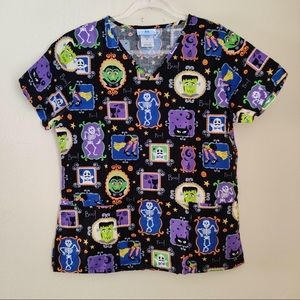 SB Scrubs Halloween Print Medical Scrub Top